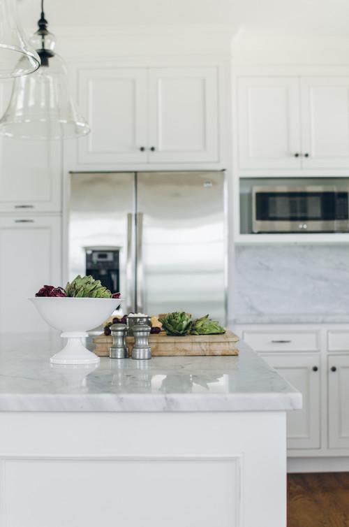 Farmhouse Fresh Kitchen with Gray Marble Island Countertop