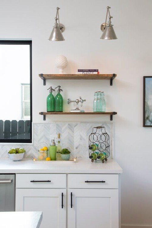 Farmhouse Fresh Kitchen with Rustic Wood Open Shelves and Coordinating Green Glass Bottles