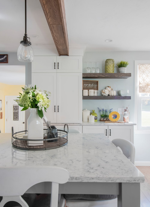 Farmhouse Fresh Kitchen with Rustic Wood Tray, Wood Ceiling Beam and Open Wood Shelves