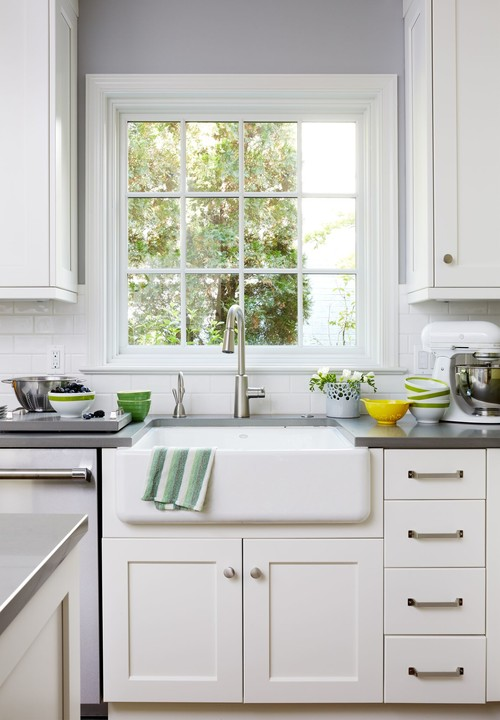 Farmhouse Fresh Kitchen with White Cabinetry and Farmhouse Sink