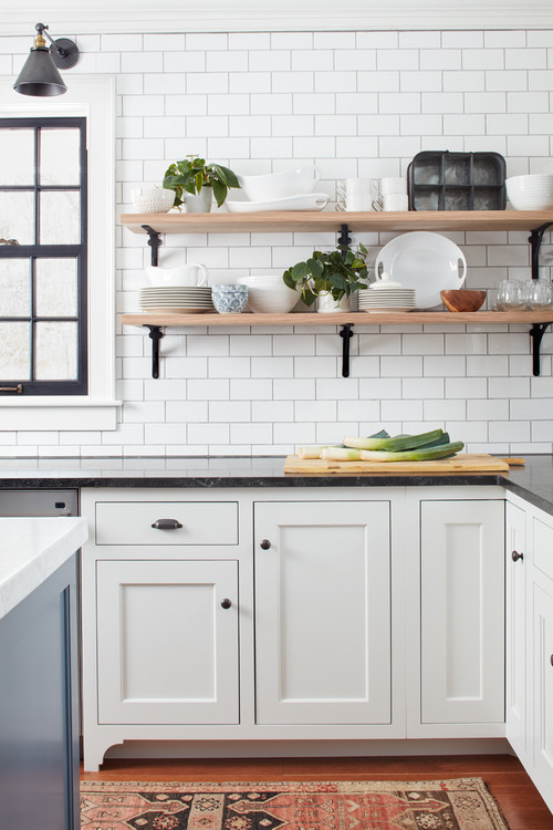 Farmhouse Fresh Kitchen with White Cabinetry and Industrial Decor