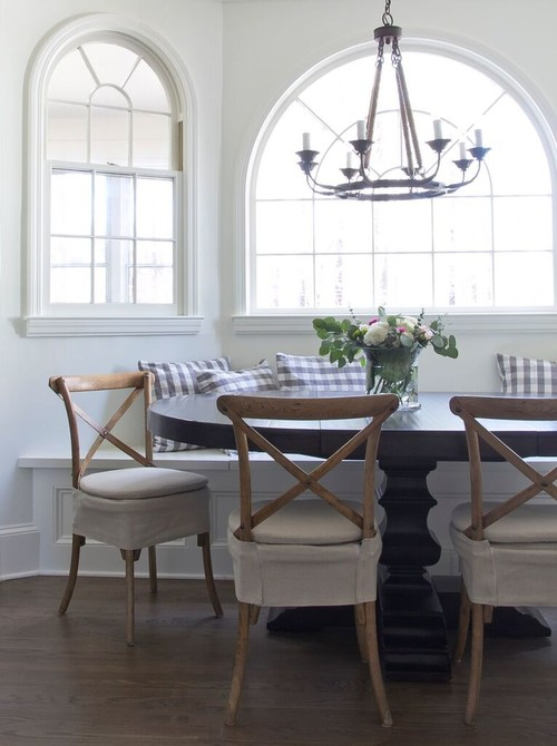 Modern Farmhouse Banquette with Gray and White Checkered Throw Pillows