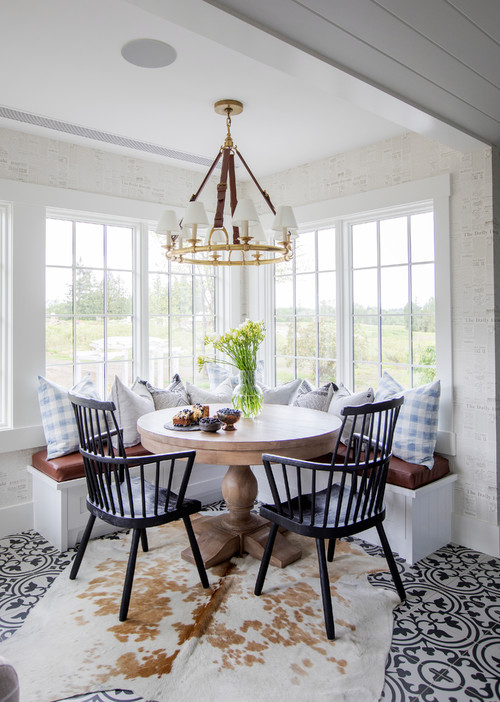 Modern Farmhouse Banquette with Light Blue and White Checkered Throw Pillows