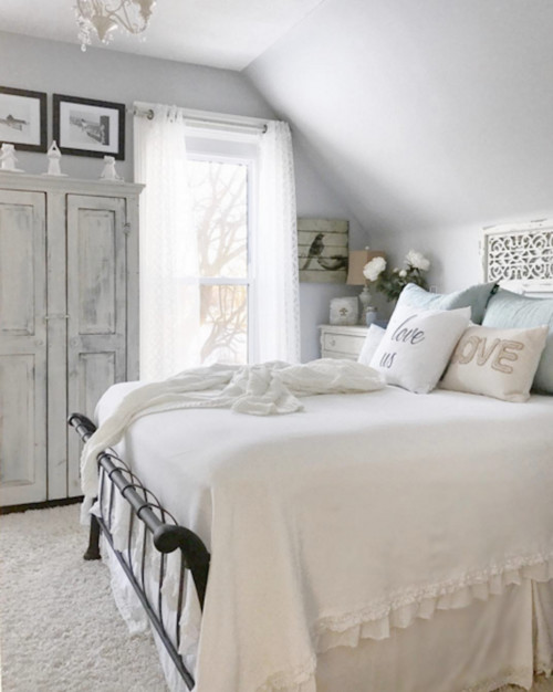 Modern Farmhouse Bedroom in Soft Whites and Grays