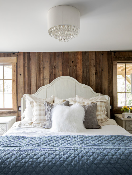 Modern Farmhouse Bedroom with Beige and White Checkered Pillow Shams