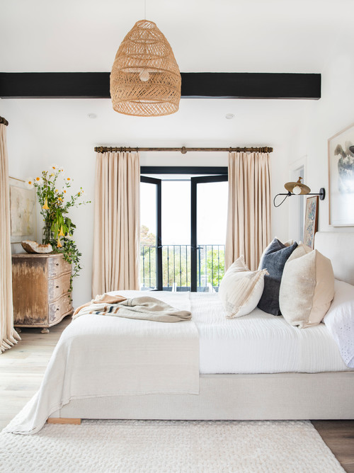 Modern Farmhouse Bedroom with Black, White and Beige Decor