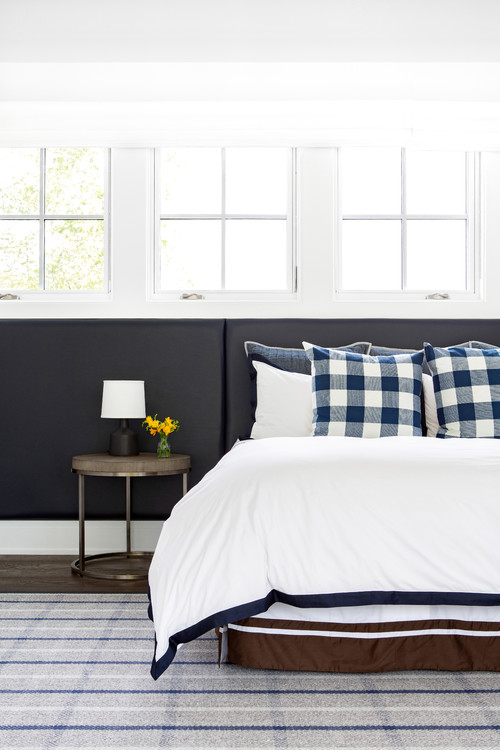 Modern Farmhouse Bedroom with Blue and White Checkered Throw Pillows