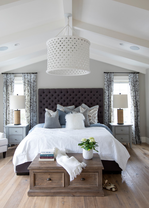 Modern Farmhouse Bedroom with Brown, White and Gray Decor