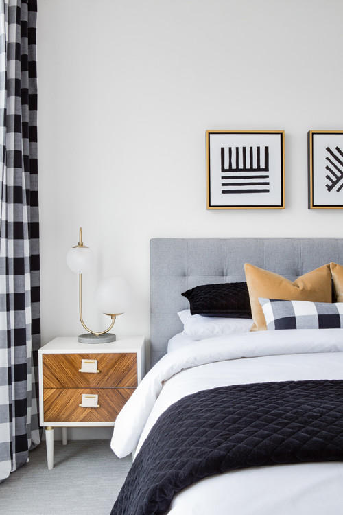 Modern Farmhouse Bedroom with Checkered Curtains and Pillow