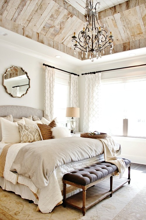 Modern Farmhouse Bedroom with Neutral Decor and Wood Trimmed Ceiling