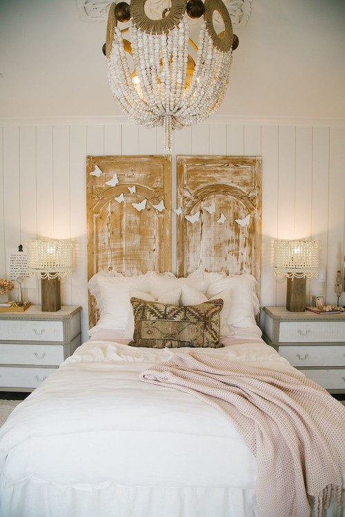 Modern Farmhouse Bedroom with Reclaimed Wood Doors for Headboard