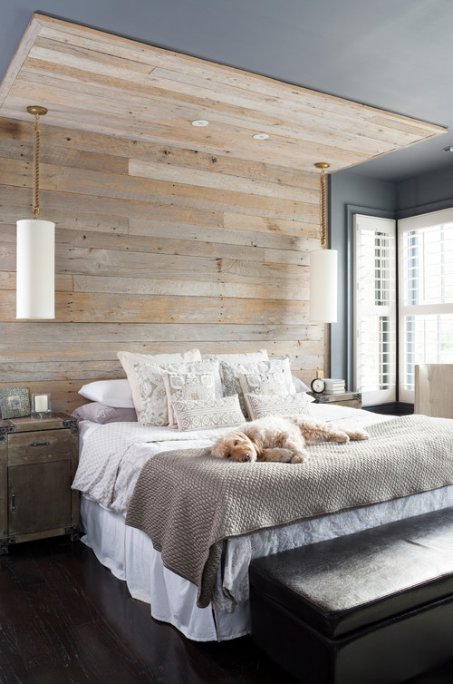 Modern Farmhouse Bedroom with Reclaimed Wood Wall