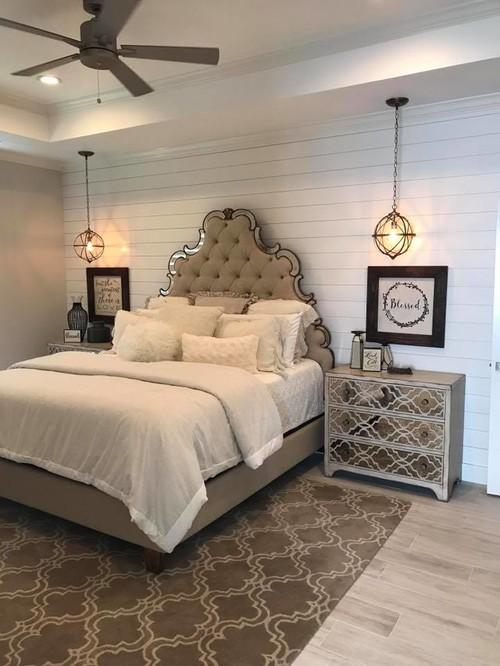 Modern Farmhouse Bedroom with Shiplap Wall