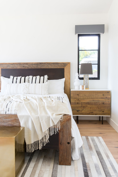 Modern Farmhouse Bedroom with Wood Bed