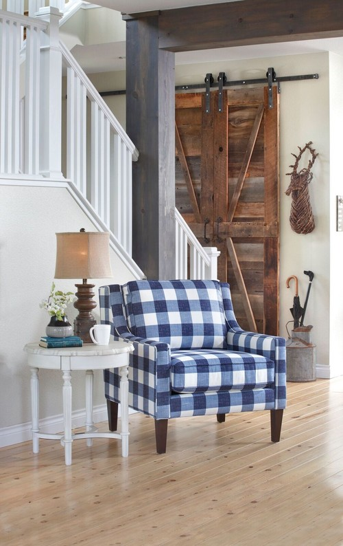 Modern Farmhouse Blue and White Checkered Chair