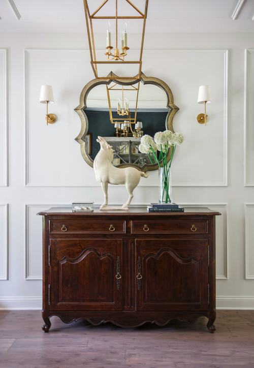 Modern Farmhouse Dark Wood Entry Table with Horse Statue