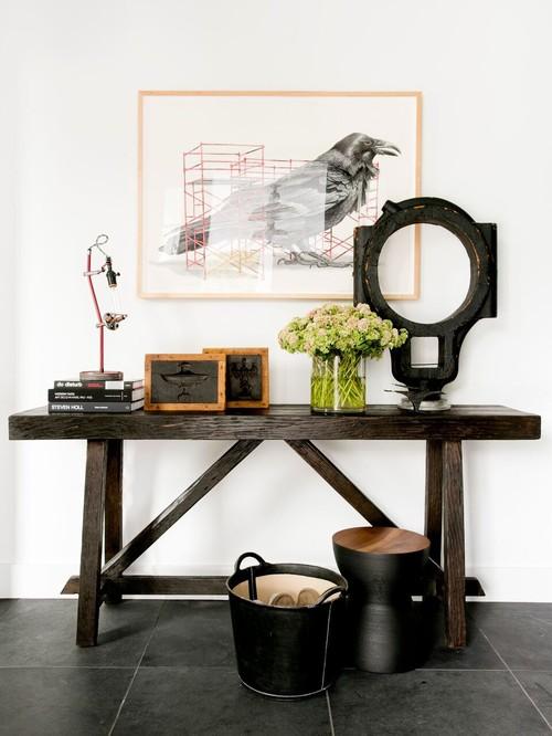 Modern Farmhouse Dark Wood Entry Table