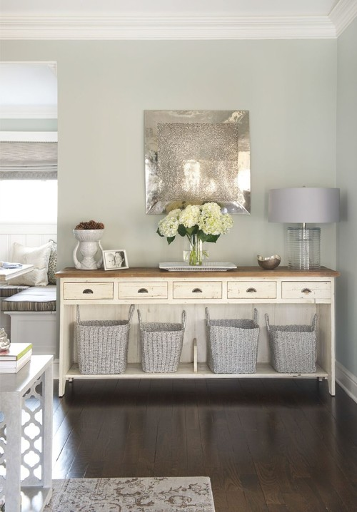 Modern Farmhouse Distressed Cream Colored Entry Table