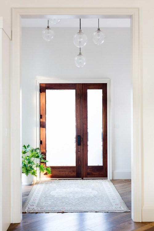 Modern Farmhouse Entryway Wood and Glass Door with One Side Lite