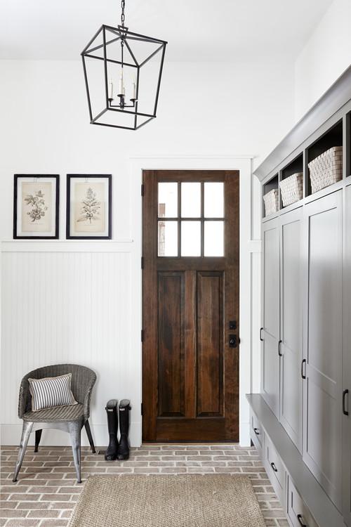 Modern Farmhouse Entryway Wooden Door with Top Window