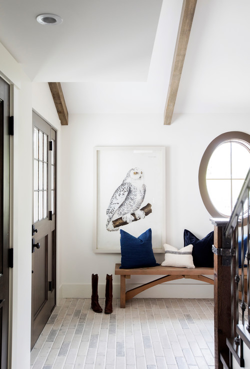 Modern Farmhouse Entryway Wooden Dutch Door with Upper Window