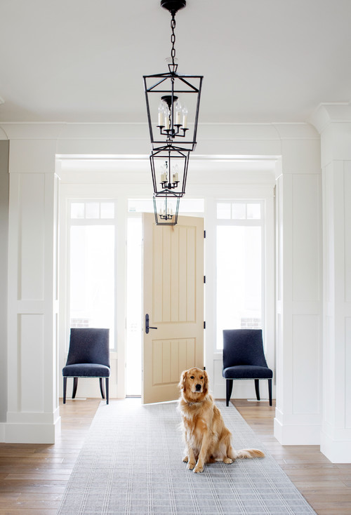 Modern Farmhouse Entryway with Cream Colored Door Flanked by Side Lites