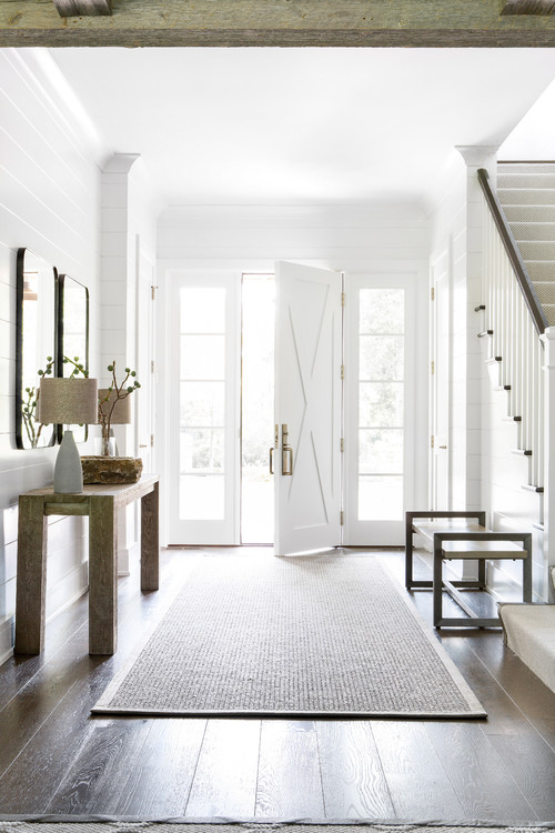 Modern Farmhouse Entryway with White X-Style Door Flanked by Side Lites
