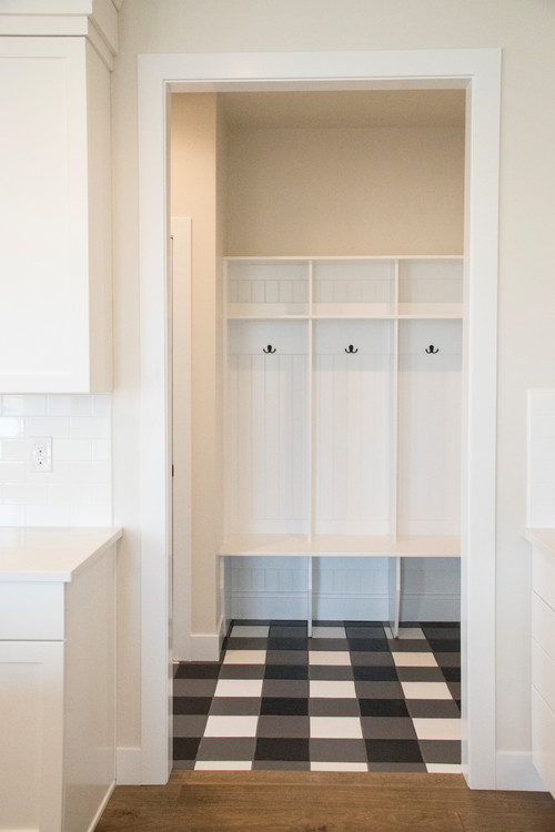 Modern Farmhouse Mudroom with Black and White Checkered Floor