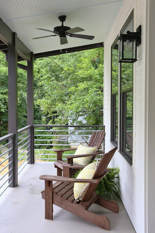 Modern Farmhouse Porch with Adirondack Chairs