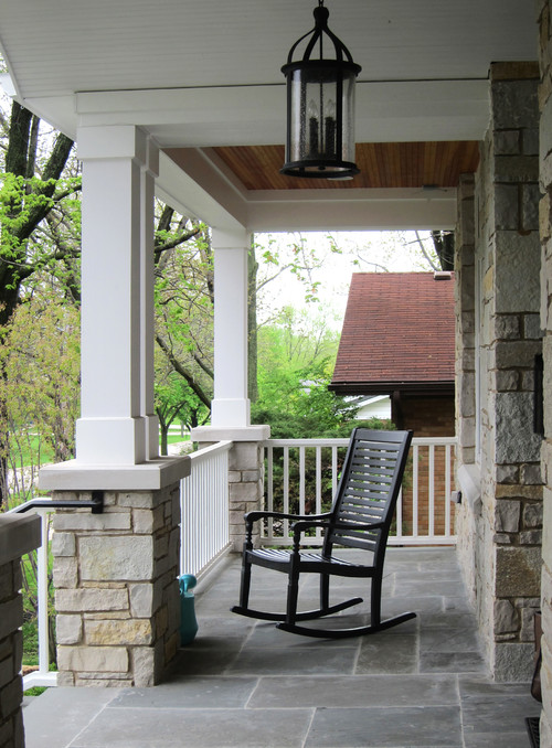 Modern Farmhouse Porch with Black Rocking Chair