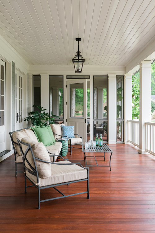 Modern Farmhouse Porch with Metal Outdoor Furniture
