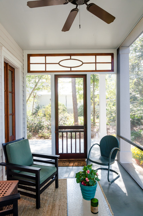 Modern Farmhouse Porch with Transom Window
