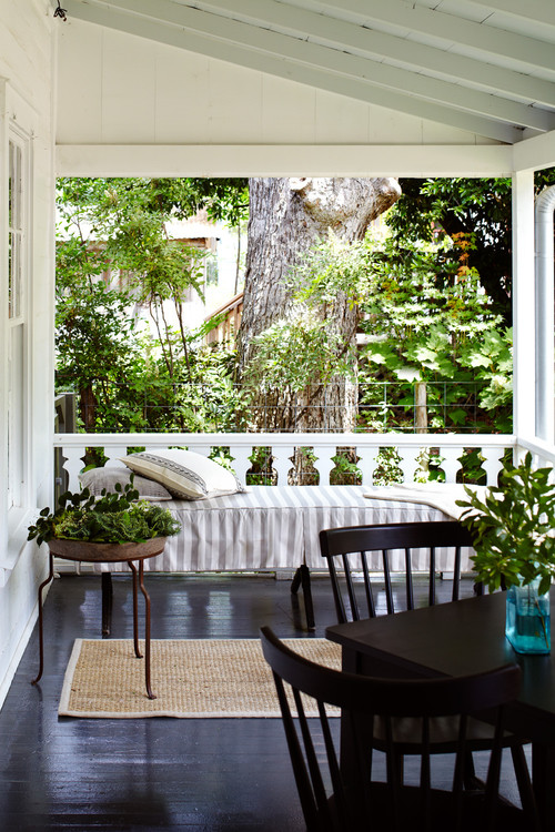 Modern Farmhouse Porch with a Bed