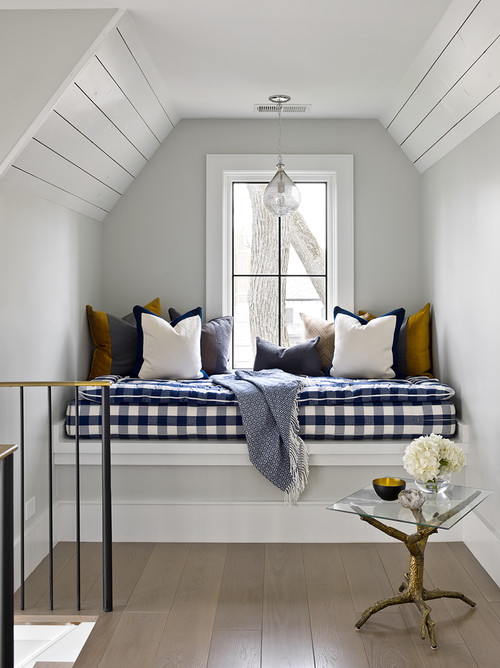 Modern Farmhouse Reading Nook with Navy Blue and White Checkered Cushion