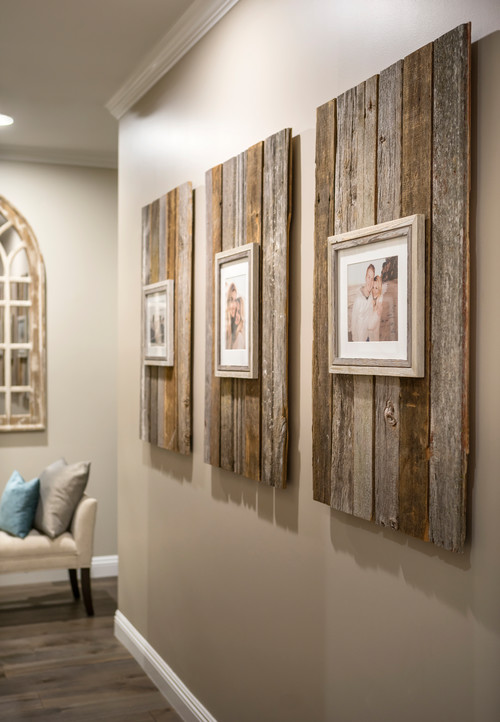 Modern Farmhouse Reclaimed Wood Backdrop for Picture Frames