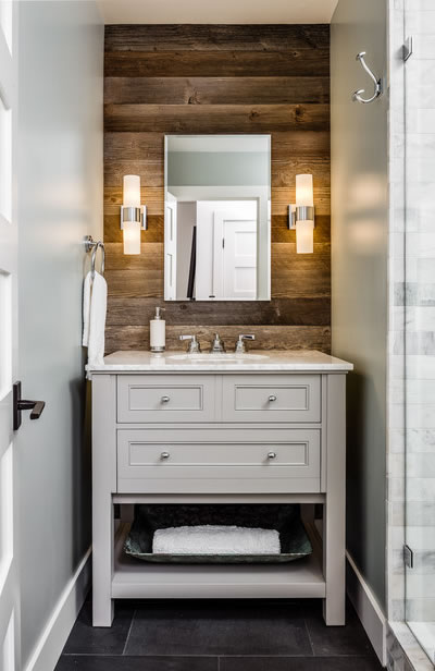 Modern Farmhouse Reclaimed Wood Bathroom Vanity Wall