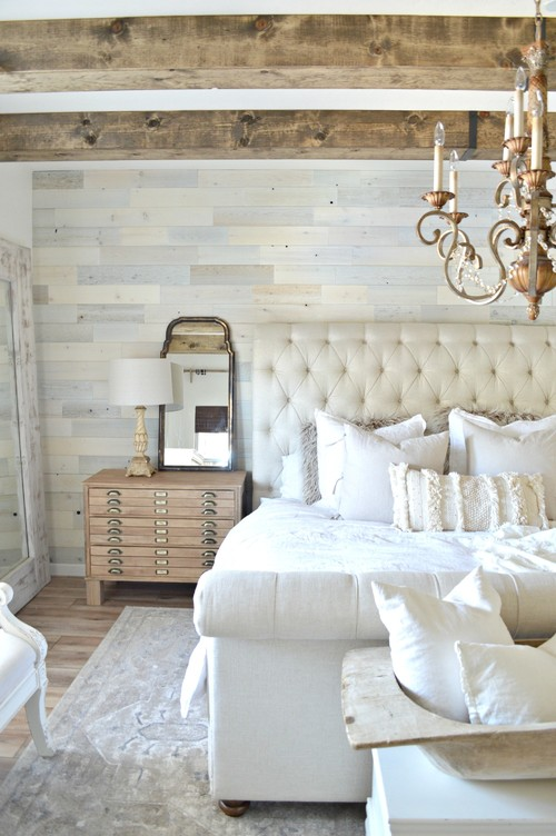 Modern Farmhouse Reclaimed Wood Bedroom Ceiling Beams