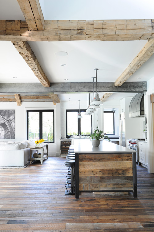 Modern Farmhouse Reclaimed Wood Ceiling Beams, Kitchen Island and Floor