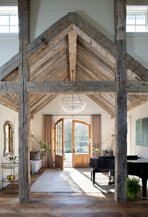 Modern Farmhouse Reclaimed Wood Ceiling and Beams