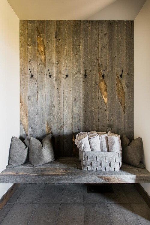 Modern Farmhouse Reclaimed Wood Entry Wall and Bench