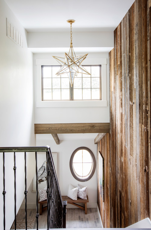 Modern Farmhouse Reclaimed Wood Stairway Wall and Ceiling Beams