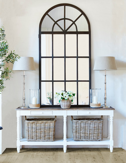 Modern Farmhouse White Entry Table with Two Drawers