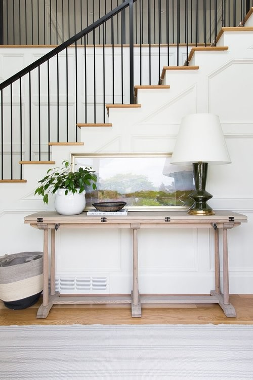 Modern Farmhouse Wooden Entry Table with Drop Leaf