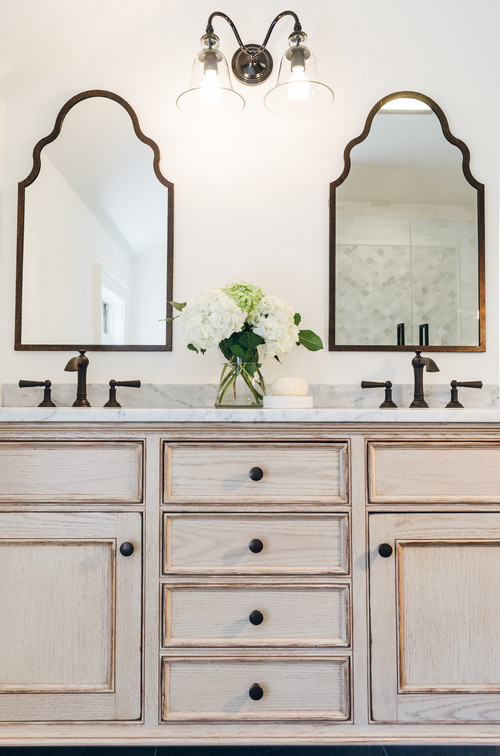 Neutral Modern Farmhouse Bathroom with Distressed Double Sink Vanity