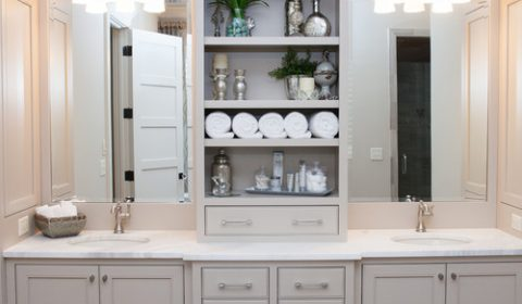 Neutral Modern Farmhouse Bathroom with Gray Double Sink Vanity