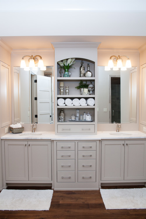 Neutral Modern Farmhouse Bathroom with Gray Double Sink Vanity