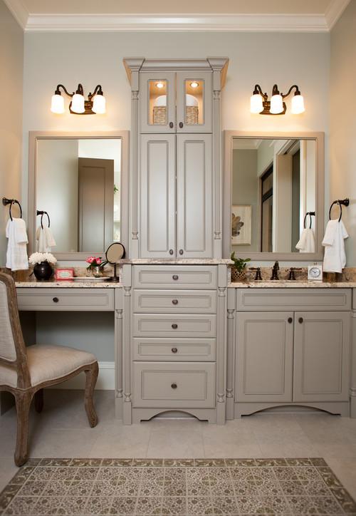 Neutral Modern Farmhouse Bathroom with Gray Double Vanity