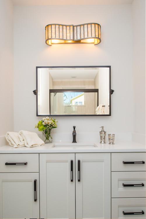 Neutral Modern Farmhouse Bathroom with Gray Vanity