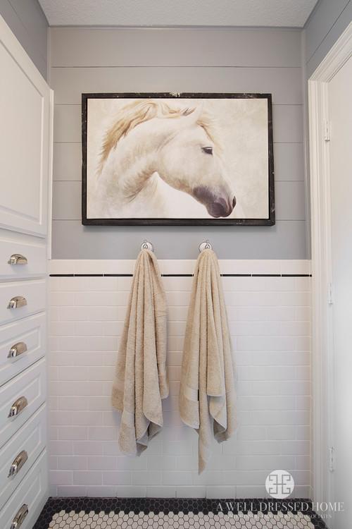 Neutral Modern Farmhouse Bathroom with Horse Artwork