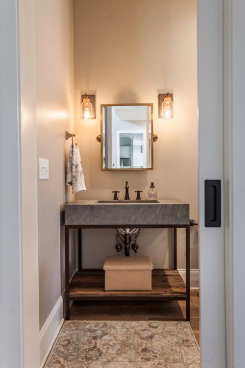 Neutral Modern Farmhouse Bathroom with Industrial Style Vanity